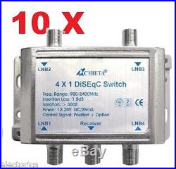 10 X HEAVY DUTY WSD-2041 CHIETA DISEqC MULTI-SWITCH 4X1 SATELLITE FTA LNB