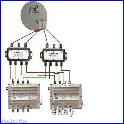 3x4 Multi-switch Quad Output Lnb Zinwell Sw34 2x4 Satellite Directv Dish Network