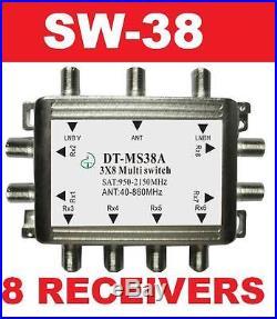 3x8 Multi-switch Sw38 Satellite Lnb Bell Dish Network Bev Fta Free To Air Bev