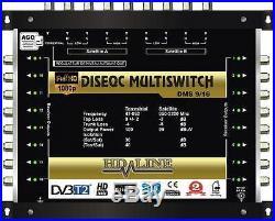 Commutateur Diseqc Multiswitch 10/16 HDTV 3D 3 satellites 1 terrestre 16 démos