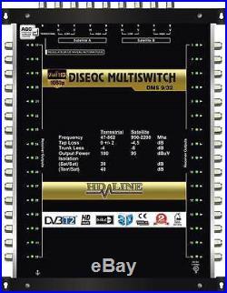 Commutateur Diseqc Multiswitch 10/32 HDTV 3D 3 satellites 1 terrestre 32 démos