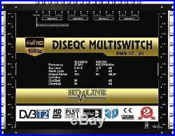 Commutateur Diseqc Multiswitch 17/24 HDTV 3D 4 satellites 1 terrestre 24 démos