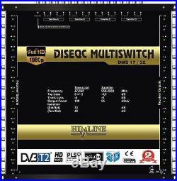 Commutateur Diseqc Multiswitch 17/32 HDTV 3D 4 satellites 1 terrestre 32 démos