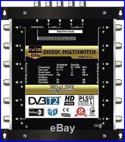 Commutateur Diseqc Multiswitch 5/12 HDTV 3D 1 satellite 1 terrestre 12 démos
