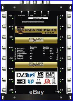 Commutateur Diseqc Multiswitch 5/16 HDTV 3D 1 satellite 1 terrestre 16 démos