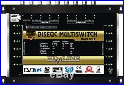 Commutateur Diseqc Multiswitch 9/12 HDTV 3D 2 satellites 1 terrestre 12 démos