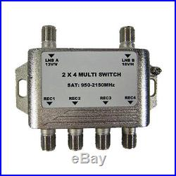 GEOSATpro 2x4 Multi-Switch for FTA Satellite, Connect 4 receivers to 1 Dish
