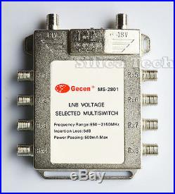 Gecen 2x8 13v/18v 2 in, 8 out Satellite LNB Multi-switch MS-2801