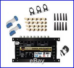 Kit Multiswitch 2 SATELLITES 8 TV 9/8 + 2 LNB Quattro +Support LNB +Connecteurs