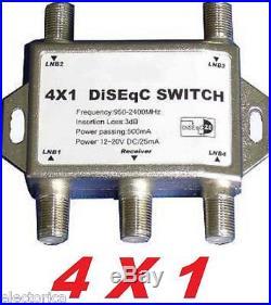 LOT OF 10 DISEqC 4X1 HD SATELLITE MULTI SWITCH DISH FTA LNB DIRECTV NETWORK TV