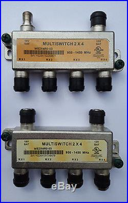 Lot of 8 ZINWELL 2x4 SATELLITE Multi Switch 4 OUTPUTS MS2X4R0-03 Directv Dish