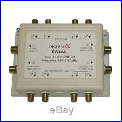 Multiswitch 4 IF input to 4 outpus for Satellite Receiver with AC-DC Adapter