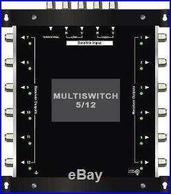 Multiswitch HDTV 5/12 Centrale 1 satellite 1 terrestre / 12 démodulateurs Diseqc