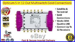 Opticum OMS 5 In x 12 Out Satellite & Terrestrial Multiswitch Gold Connections