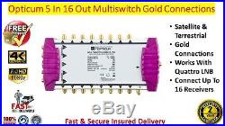 Opticum OMS 5 In x 16 Out Satellite & Terrestrial Multiswitch Gold Connections