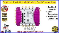 Opticum OMS 9 In x 8 Out Satellite & Terrestrial Multiswitch Gold Connections