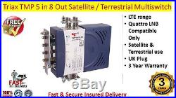 Triax TMP LTE 5 in 8 Out Satellite & Terrestrial Multiswitch Use Quattro LNB