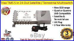 Triax TMS 5 in 24 Out Satellite & Terrestrial Multiswitch Quad Or Quattro LNB